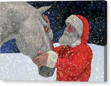 Snowy Night Night Canvas Print - A Present For Santa by Betsy Knapp
