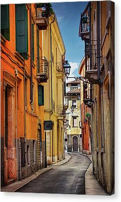 Italian Street Canvas Print - A Pretty Little Street In Verona Italy  by Carol Japp