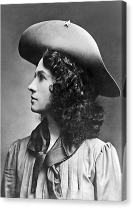 A Profile Portrait Of Sharpshooter Annie Oakley Canvas Print by American School