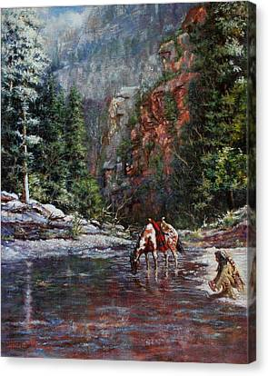 A Prospector's Pan Canvas Print by Harvie Brown