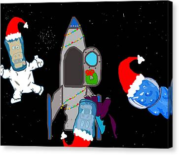 A Puppydragon Christmas In Space Canvas Print by Jera Sky