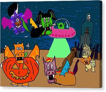A Puppydragon Halloween Canvas Print