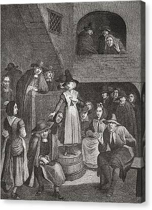 A Quaker S Meeting In The Seventeenth Canvas Print by Vintage Design Pics