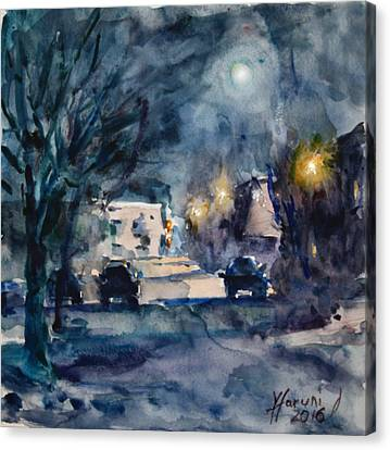 A Quiet Cold Night Under The Moon Canvas Print by Ylli Haruni
