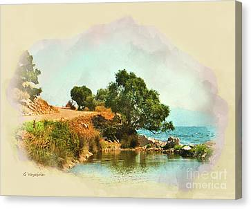 A Quiet Cove By The Sea. Canvas Print by George Voyajolu