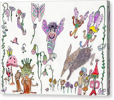 A Rabbit And Some Fairies Canvas Print