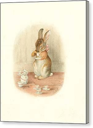 A Rabbit's Tea Party Canvas Print by Beatrix Potter