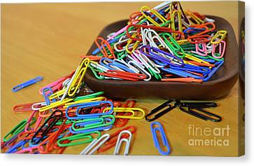 Canvas Print - A Rainbow Of Paper Clips by Mary Deal