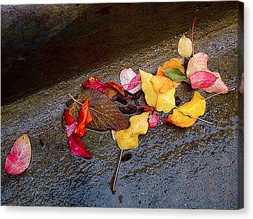Cement Canvas Print - A Rainy Autumn Day In The City by Rona Black