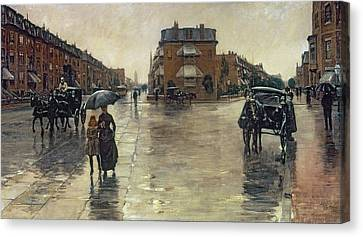 Rainy Day Canvas Print - A Rainy Day In Boston by Childe Hassam