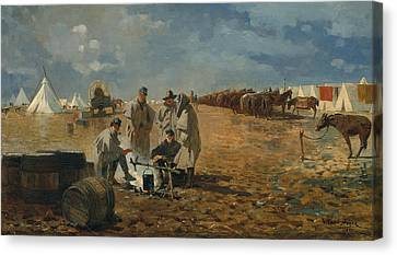 A Rainy Day In Camp Canvas Print by Winslow Homer