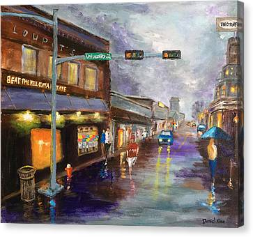 A Rainy Night At Northgate Canvas Print by Daniel Xiao