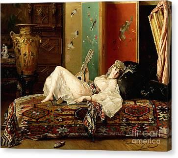 A Reclining Odalisque Canvas Print by Gustave Leonard de Jonghe
