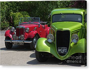 British Hot Rod Canvas Print - A Red Mg And A Green Hot Rod by Terri Waters