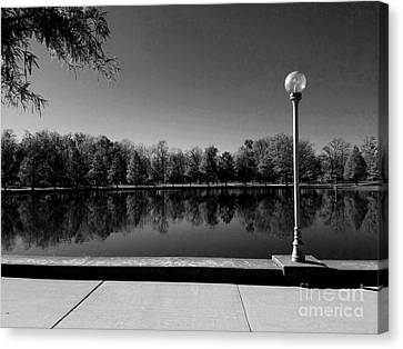 A Reflection Of Fall - Black And White Canvas Print by Scott D Van Osdol