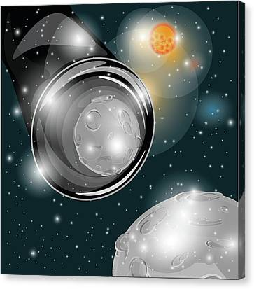 Welt Canvas Print - A Reflection Of The Moon In Binocular In Universum  by MiraPen