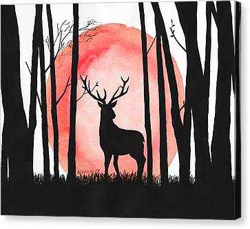 A Reindeer In The Woods Canvas Print