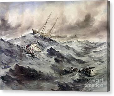 Lifeline Canvas Print - A Rescue At Sea, C1862 by Granger