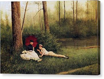 A Rest After Boating Canvas Print by Georges Croegaert