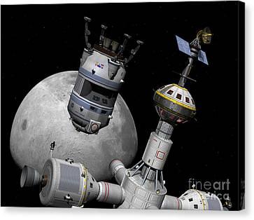 A Reusable Lunar Shuttle Prepares Canvas Print