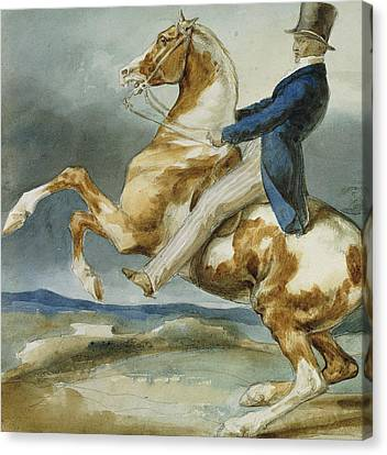 A Rider And His Rearing Horse Canvas Print by Theodore Gericault