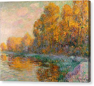 Rivers In The Fall Canvas Print - A River In Autumn by Gustave Loiseau