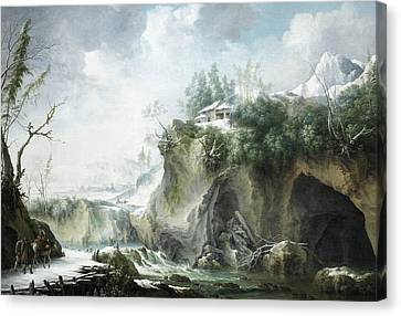 A River Landscape In Winter, With Travellers On A Snowy Path Canvas Print by Francesco Foschi