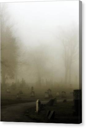 A Road Through The Fog Soaked Graveyard Canvas Print