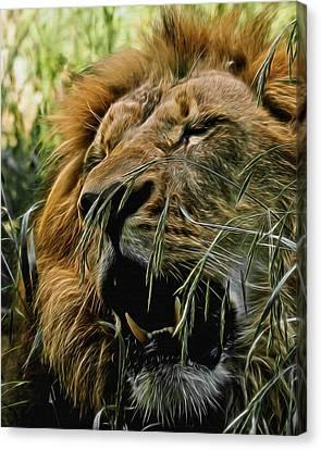 A Roar In The Grass Digital Art Canvas Print