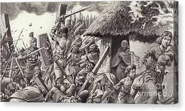 A Roman Legion Storms Maiden Castle Canvas Print by Pat Nicolle