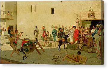 A Roman Street Scene With Musicians And A Performing Monkey Canvas Print by Modesto Faustini
