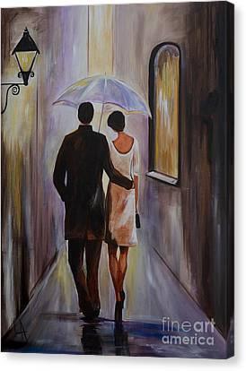 A Romantic Stroll Canvas Print by Leslie Allen