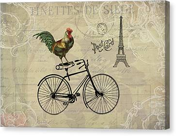 A Rooster In Paris Canvas Print