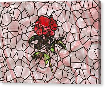 A Rose On Stained Glass Canvas Print by John M Bailey