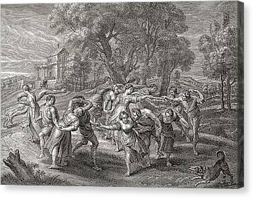 A Round Dance, After An Engraving Canvas Print by Vintage Design Pics
