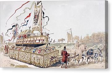 A Royal Barge Being Pulled On A Wagon Canvas Print