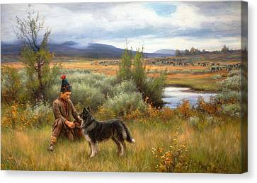 A Saami Boy Playing With His Dog Canvas Print by Johan Tiren