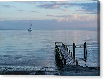 A Sailboat With A Backdrop Canvas Print