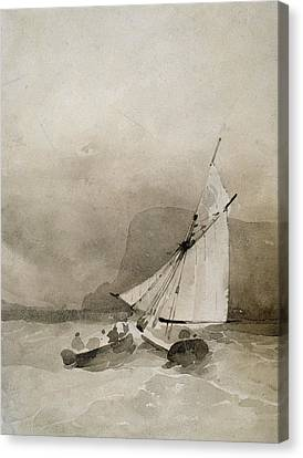 A Sailing Vessel And A Rowing Boat In Rough Seas Canvas Print by Richard Parkes Bonington