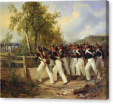 A Scene From The Soldier's Life Canvas Print by Carl Schulz
