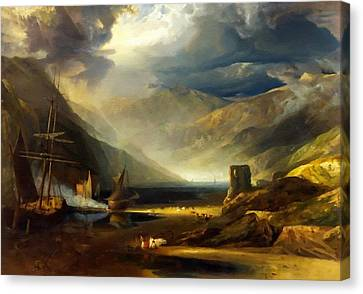 A Scene On The Coast - Merionethshire Storm Passing Off  After The Painting By Anthony  Copley L B Canvas Print