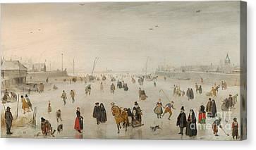 A Scene On The Ice, Canvas Print by Hendrik Avercamp