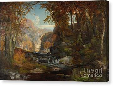 A Scene On The Tohickon Creek Canvas Print by Thomas Moran