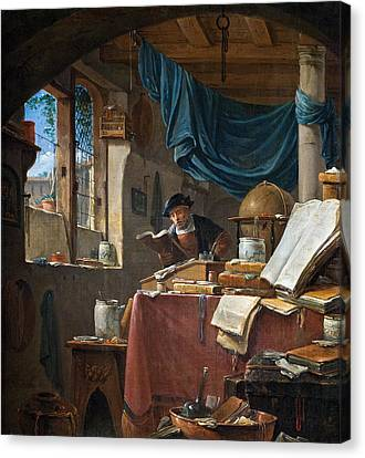 A Scholar In His Study Canvas Print by Thomas Wyck