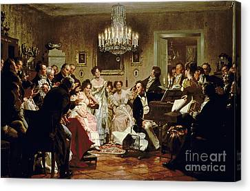 Classical Music Canvas Print - A Schubert Evening In A Vienna Salon by Julius Schmid