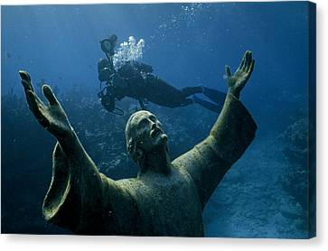 A Scuba Diver Swims Past The Statue Canvas Print by Bates Littlehales