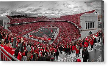 Football Canvas Print - A Sea Of Scarlet by Kenneth Krolikowski