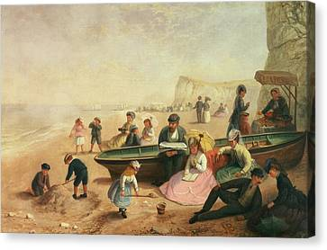 A Seaside Scene  Canvas Print by Jane Maria Bowkett
