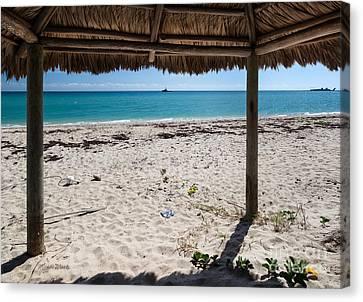 A Seat In A Tropical Beach Hut Canvas Print by Michelle Wiarda