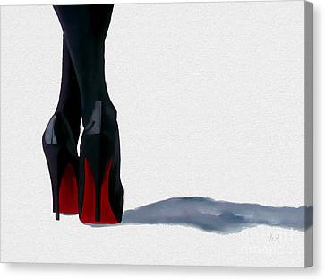 High Heels Canvas Print - A Shade Of Louboutin by Rebecca Jenkins